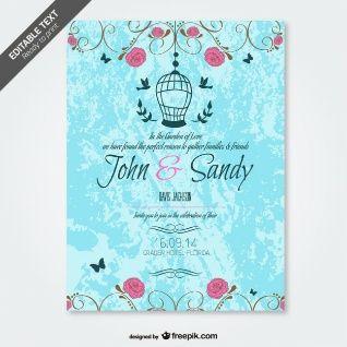 Grunge floral wedding invitation