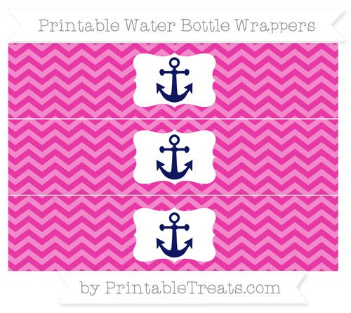 Hot Pink Chevron  Nautical Water Bottle Wrappers