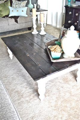Revamped Coffee Table:: Use an exsiting bottom [or make your own] & refinsh a unique top! I LOVE old barn boards! Stains come in many colors & the possibilities are endless!