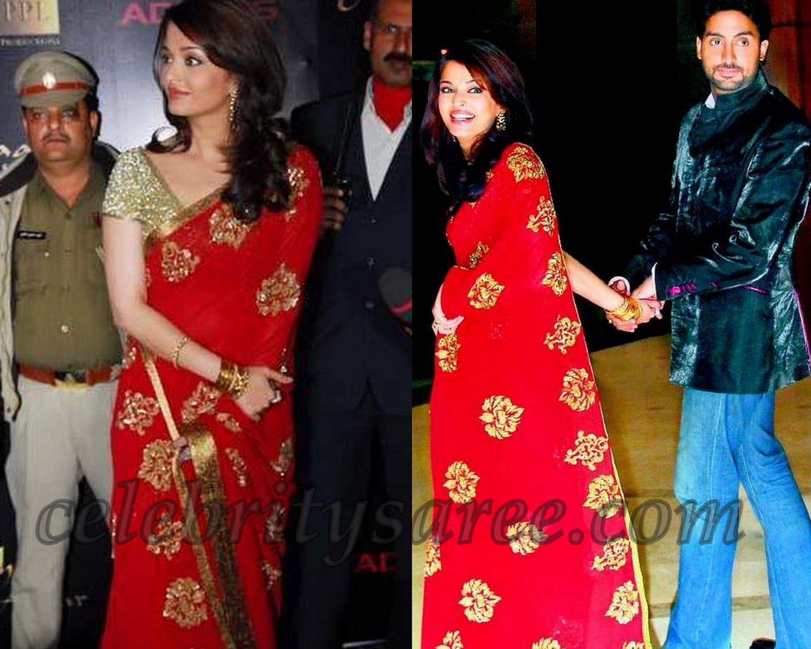 Aishwarya Rai In Red Saree With Designer Blouse