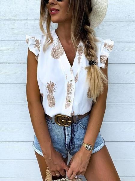2019 Summer Women Elegant Vacation Leisure Top Female Holiday Girls Sweet Shirt Pineapple Print Flutter Sleeve Casual Blouse