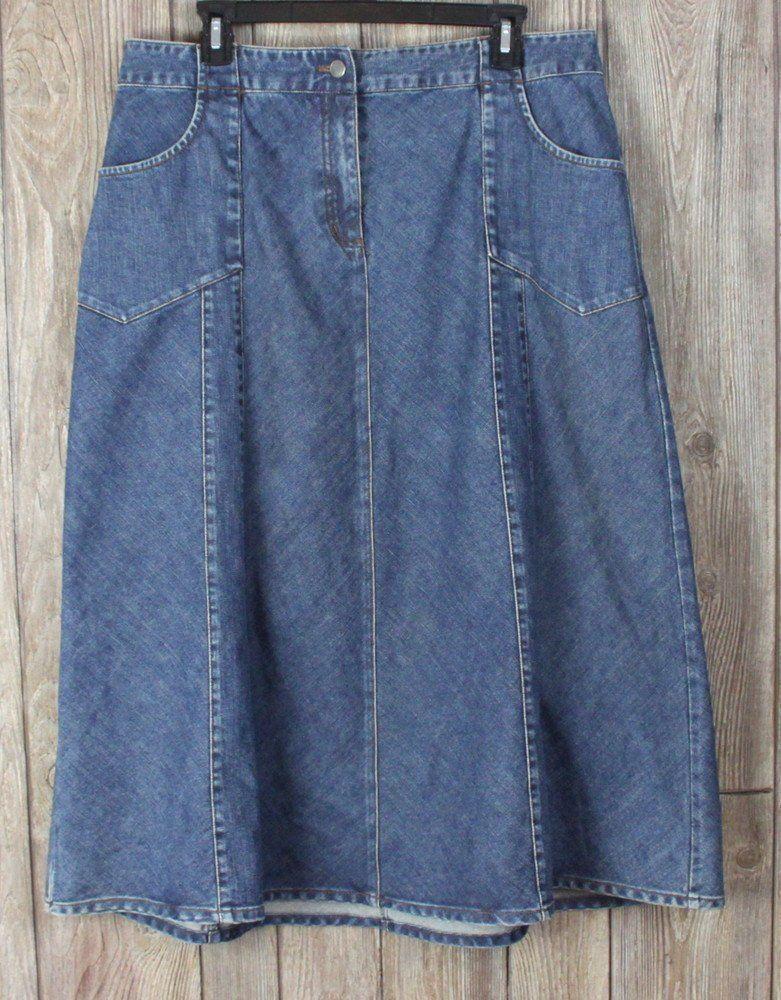 4a16de5db5eb Cute J Jill 16 Petite 16P size Skirt Blue Denim Aline Panel Casual Womens  All Season