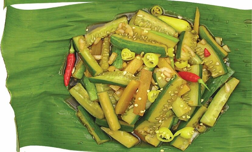 """Koko"", A Chamorro appetizer is made with cucumber and mango. This is basically pickled."