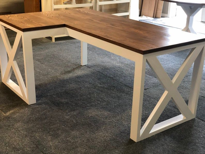 L Shaped Farmhouse Desk Rustic Furniture Desk Office Decor