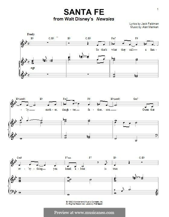 Santa Fe (from Newsies): For voice and piano (or guitar) by Alan ...