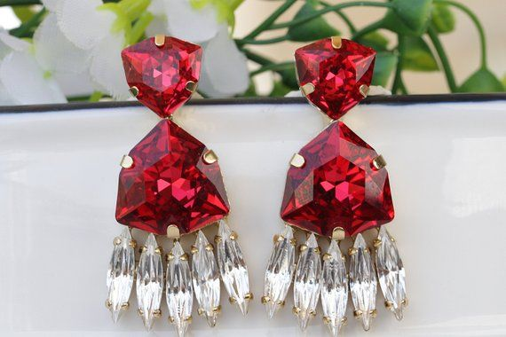 37b7ed04d Swarovski Ruby Red Earrings, Ruby Drop Earrings, Art Deco Earrings, Ruby  Crystal Earrings, Bridesmaid Jewelry,Gift For Wife, Statement Studs