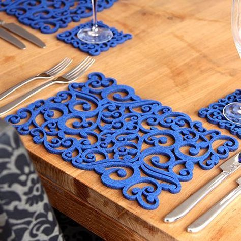 Laser Cut Felt Placemats Two Pack Blue Swirls By