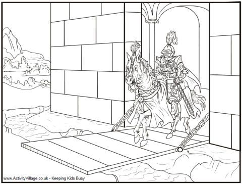 Knight and drawbridge coloring page | History | Pinterest | Knight ...