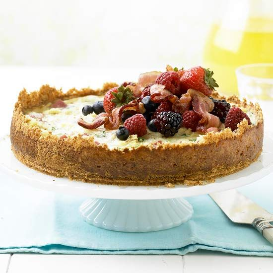 bread pudding quiche with berries & bacon...