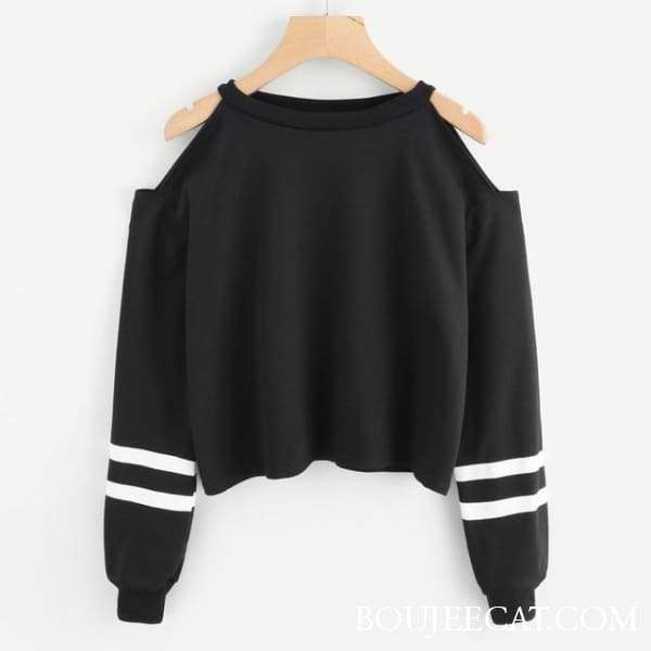 BLACK OFF SHOULDER Hoodie is part of Clothes - 21 7  One of a kind Jacquard accents, a round neckline, an iconic print, that will be recognized where ever you go  The Pullover silhouette offers comfylongwear, this one of kind has long sleeves for warmth