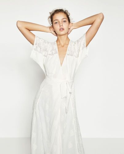 06457a91 ZARA-White-Cotton-Embroidered-Lace-Long-Crossover-Long-Maxi-Wrap-Dress -XS-S-BNWT
