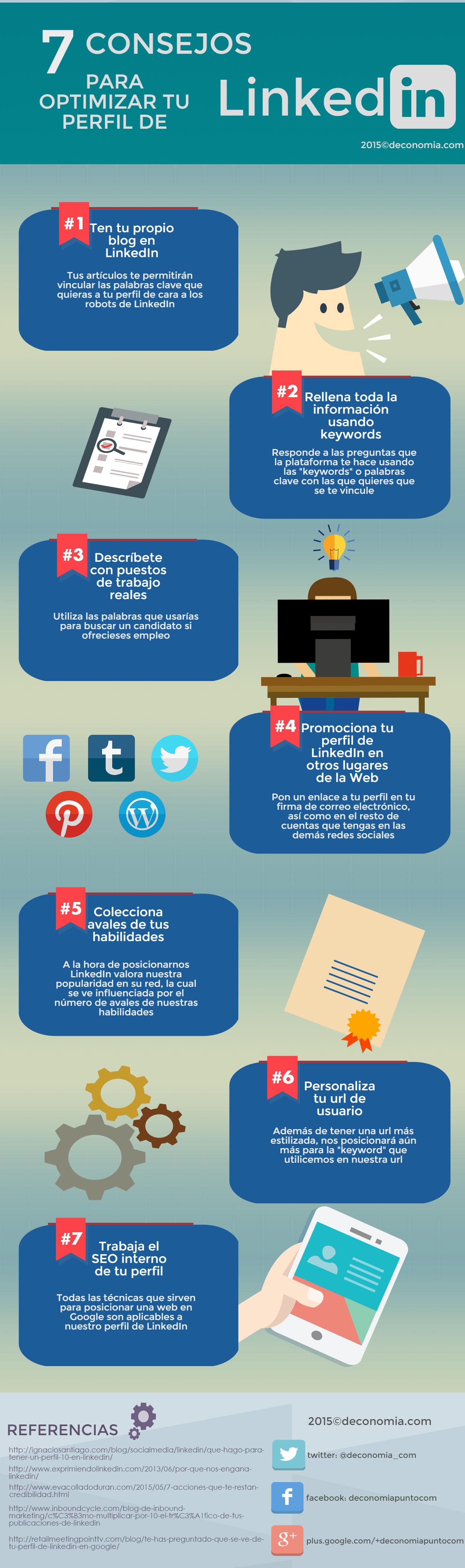 7 Consejos Para Optimizar Tu Perfil En Linkedin Infografia Infographic Socialmedia Tics Y Formación Marketing Estrategias De Marketing Marketing De Contenidos
