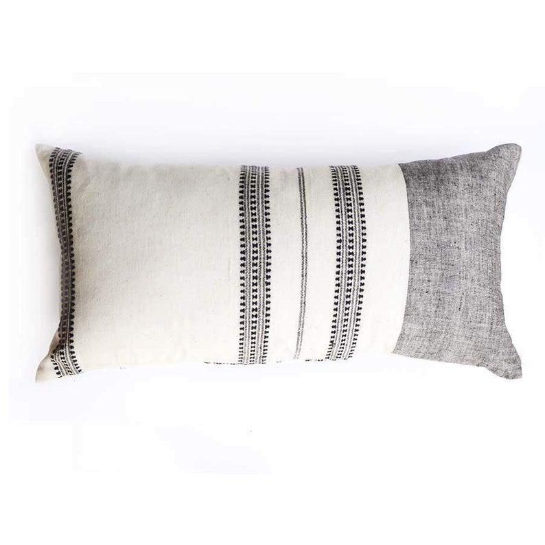 100 Organic Cotton Pillow Cover Large Lumbar Pillow 16 X 26 Handmade Cotton Pillow All Natural Dyes Ivory White And Dark Gray Pillow In 2020 Organic Cotton Pillows Oblong Pillow Woven Pillows