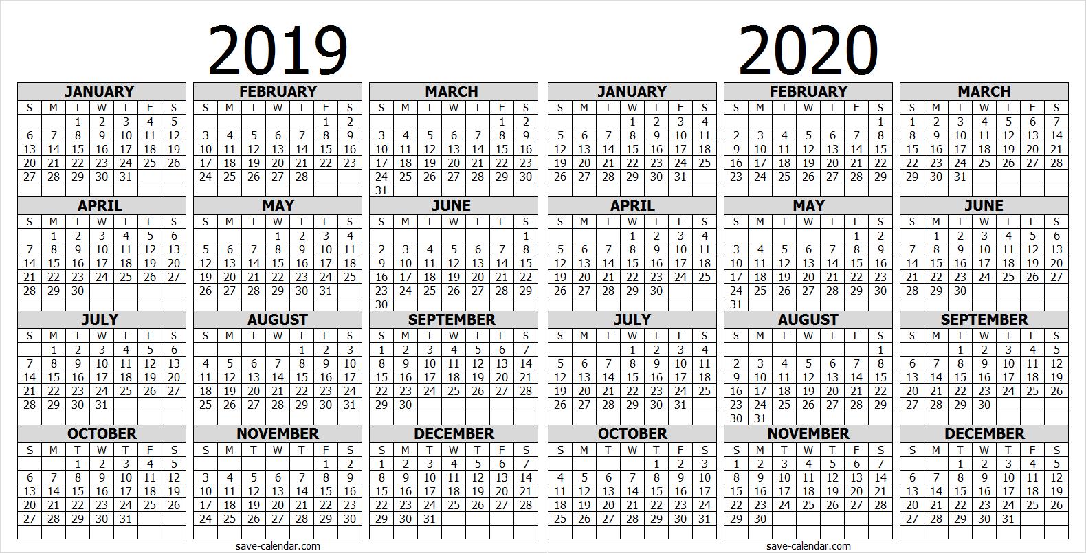 Calendar 2019 2020 One Page 2019 Calendar Calendar 2019