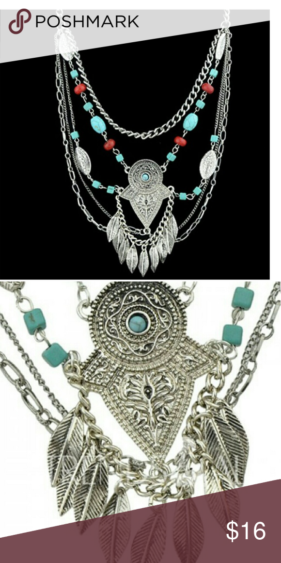Layered boho necklace Silver toned alloy with faux turquoise. Beautifully made. Jewelry Necklaces