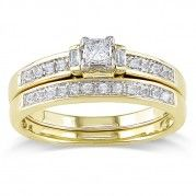 Beautiful Princess and Baguette Diamond Bridal Set in yellow Gold $599.99