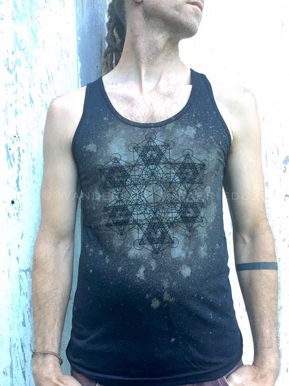Black printed METATRON Shirt, Mens Graphic T-shirt Metatron Cube, Tribal Journeying Printed Geometry Tee, Unisex Geometrical Clothing