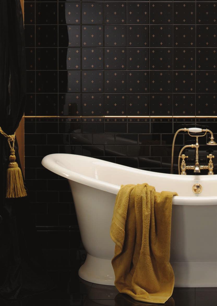 Artworks Fleur De Lis Gold On Black 2 Tile Set Omega Gold Fleurs