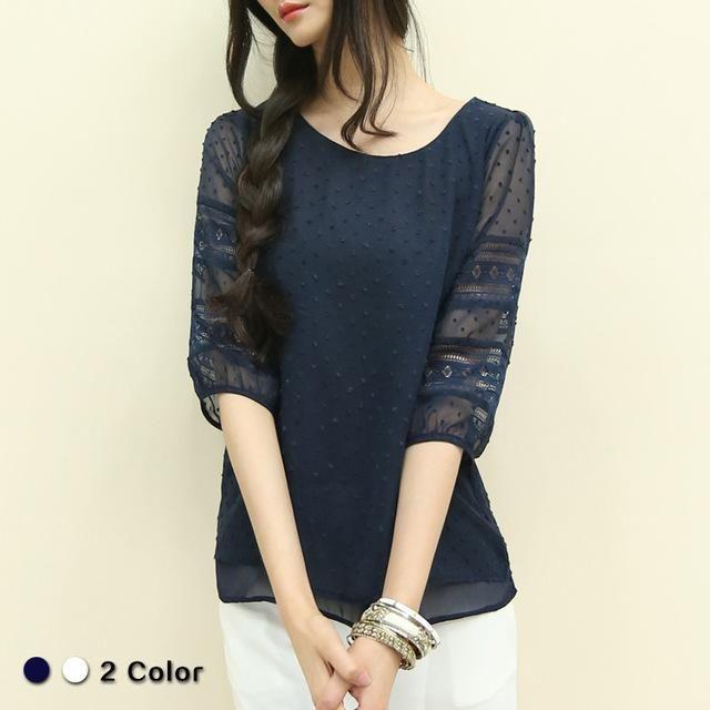 684adbafe85fd Korea style plus size sheer blouses short sleeve blusas chiffon shirts big size  women clothes summer Womens tops fashion 2018