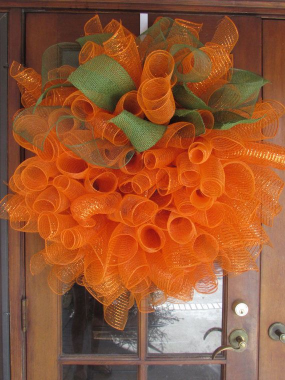 3' Fall Pumpkin Orange Deco Mesh Halloween Thanksgiving Wreath Fall Door Decor #CreativeSpacesbyGina
