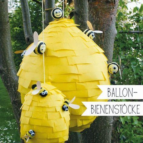 Ballon-Bienenstock basteln, Kinder basteln, DIY, Pinata, Basteln mit Papier, selber machen #bastelprojektefürdenfrühling