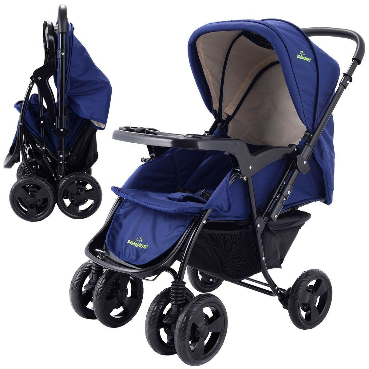Details about Two Way Foldable Baby Kids Travel Stroller