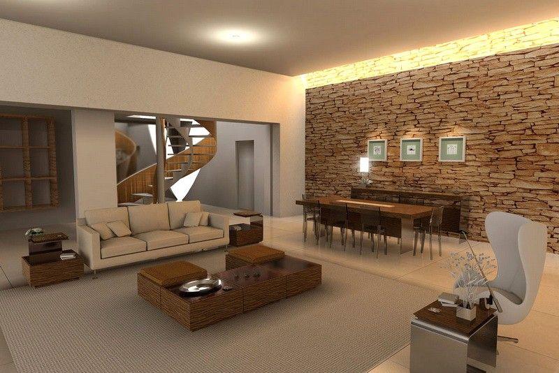 Design Rivestimenti Case Moderne Interni.Rivestimenti In Pietra Per Interni Soggiorno Con Rivestimenti In