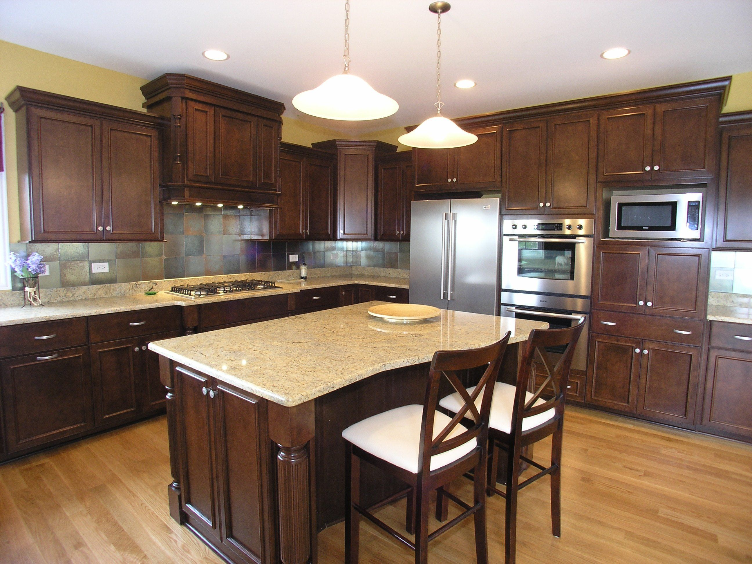 Like Color Of Dark Cabinets With Light Floor. Also Like Color Of Countertop  And Backsplash