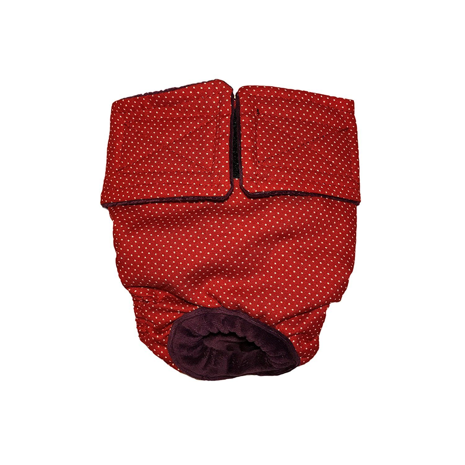Dog Diapers - Made in USA - Small White Polka Dot on Red Washable Dog Diaper for Incontinence, Housetraining and Dogs in Heat *** Find out more details by clicking the image : Cat litter