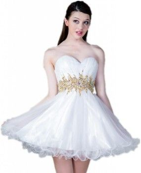 Cute short gold and white prom dresses  3f74b0fb0e96