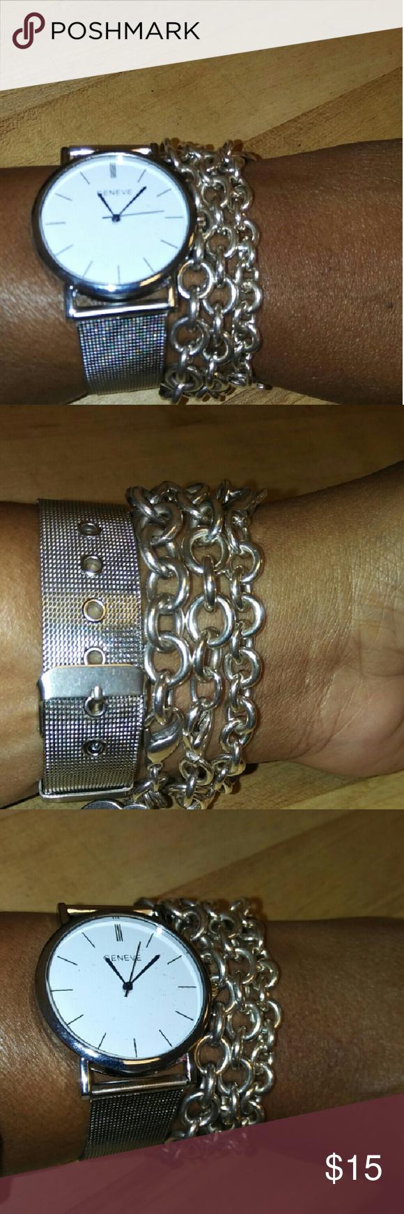 """Silver Belt Watch Silver Belt Watch NWOT Watch only Size 6-8"""" Jewelry Bracelets"""