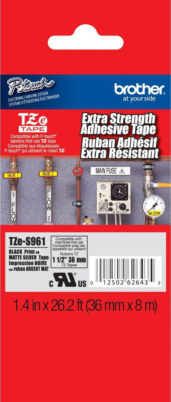 Brother Tze S961 1 5 In Black On Matte Silver Extra Strength Tape Label Printer Adhesive Strong Adhesive