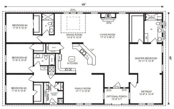 Ranch house floor plans 4 bedroom love this simple no watered space plan add a wraparound Simple house plans 4 bedrooms