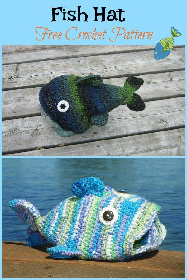 Fun Fish Hat Crochet Patterns | Hüte, Mütze und Häkeln