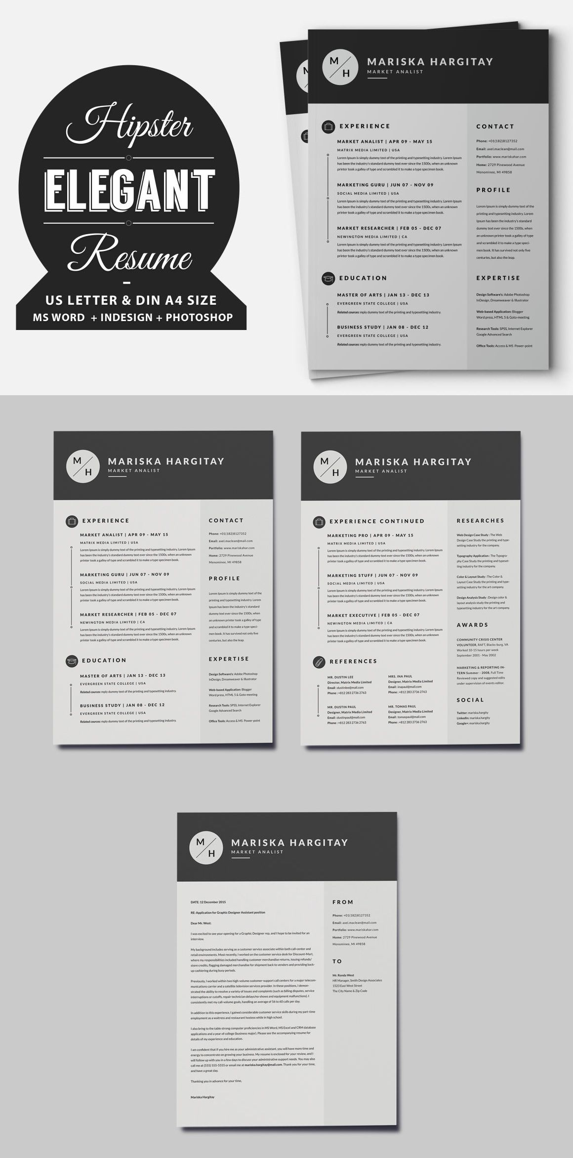 Two Pages Hipster Elegant Resume / CV Set Template INDD