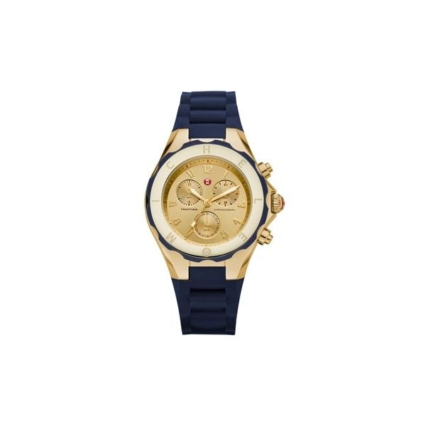 MICHELE Tahitian Jellybean Large Navy Goldtone Watch found on Polyvore