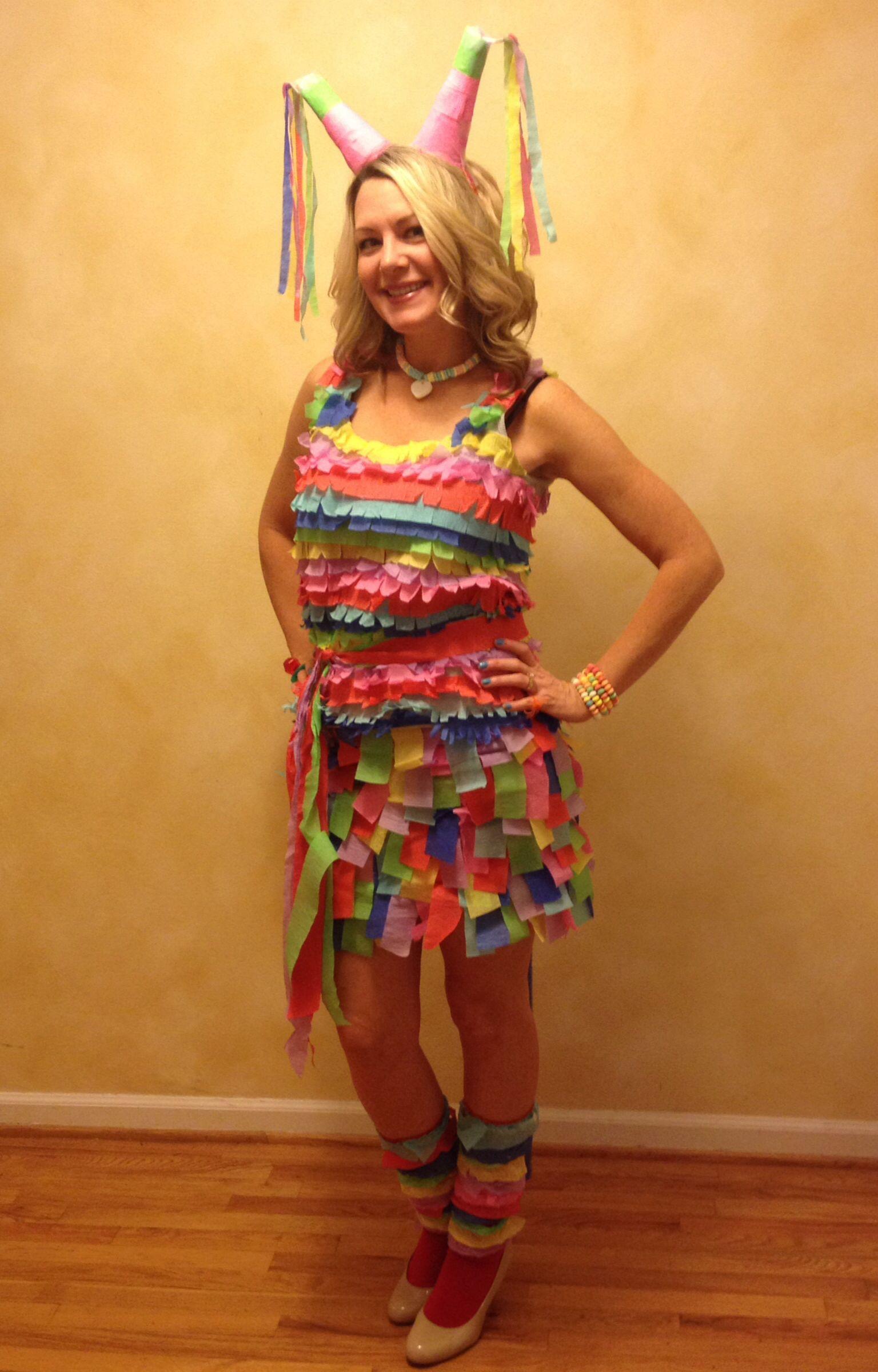 homemade halloween piñata costume with candy jewelry. my husband was
