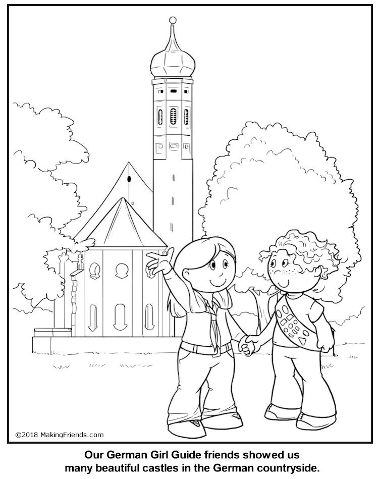 German Girl Guide Coloring Page World Thinking Day Coloring Pages Flag Coloring Pages