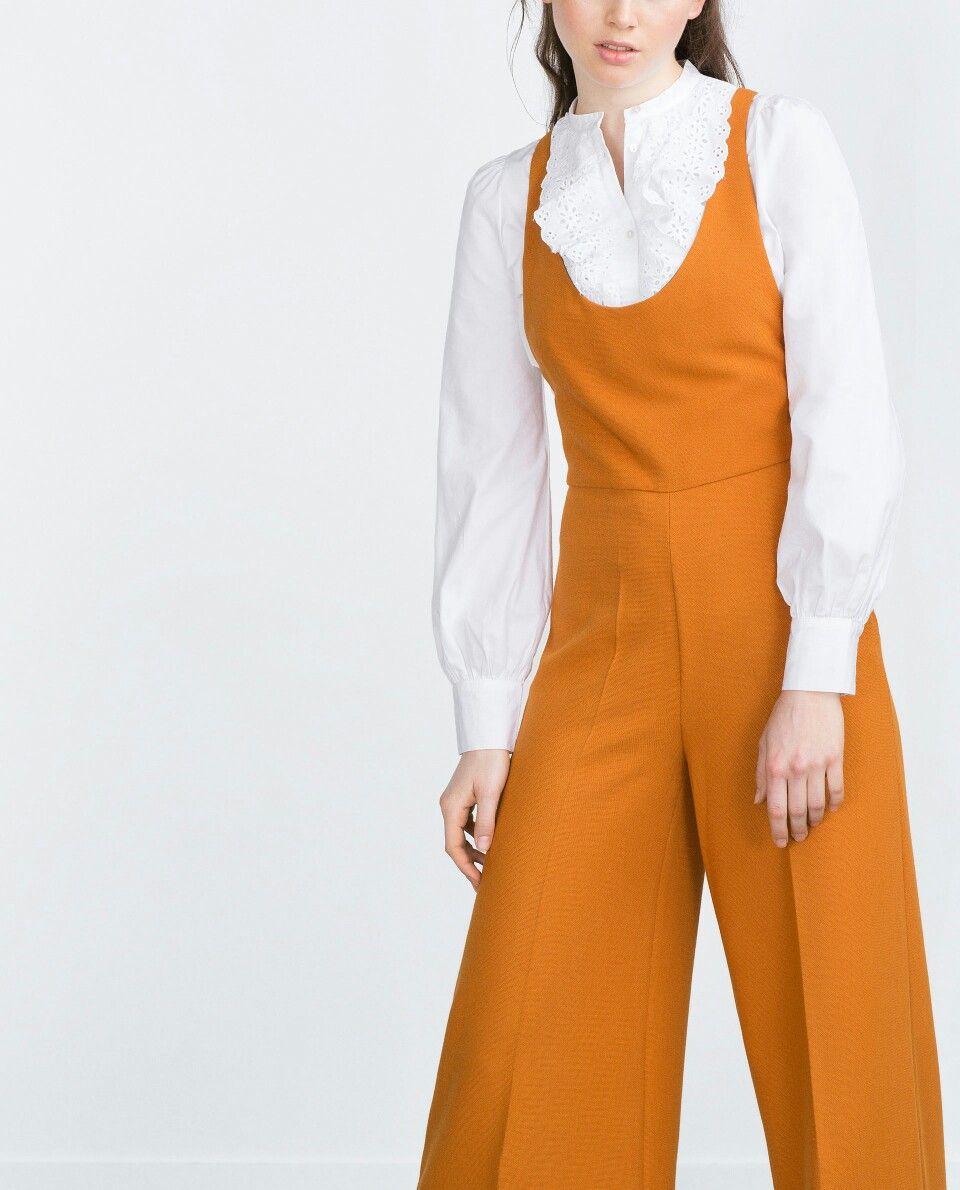 1d8741817e5 Culotte jumpsuit in burnt orange from zara