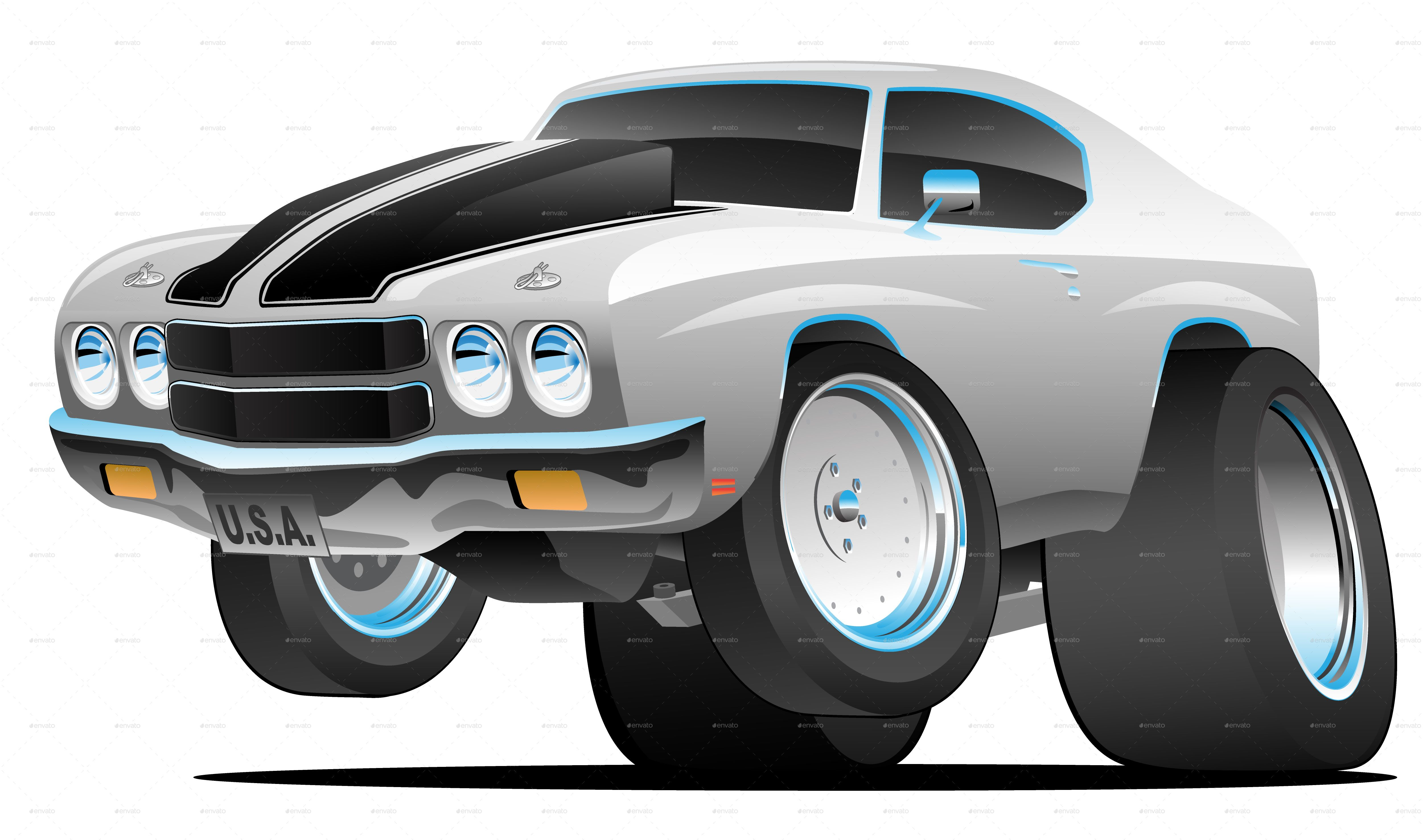 Classic Seventies Style American Muscle Car Cartoon Style