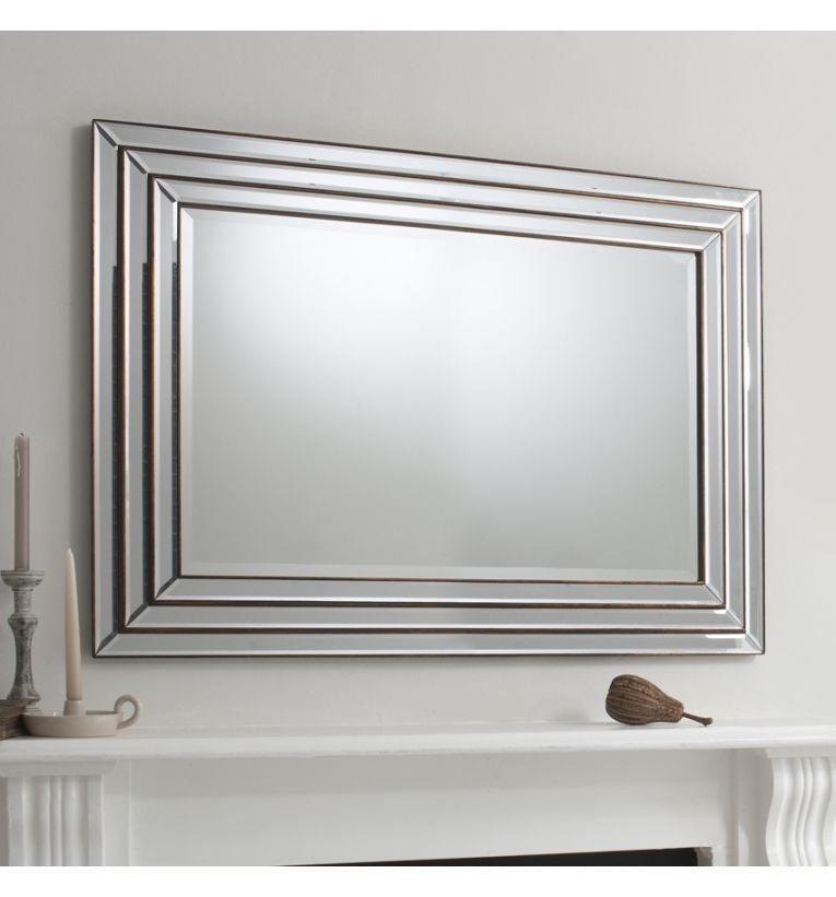 Chambery Large Triple Step Bevelled Frame Overmantle Wall Mirror 46 X 34 Venetian Glass Mirror Large Rectangle Mirror Mirror Design Wall