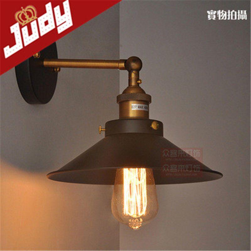 Judy Lighting Industrial Vintage Wall Sconces Black Lampshade