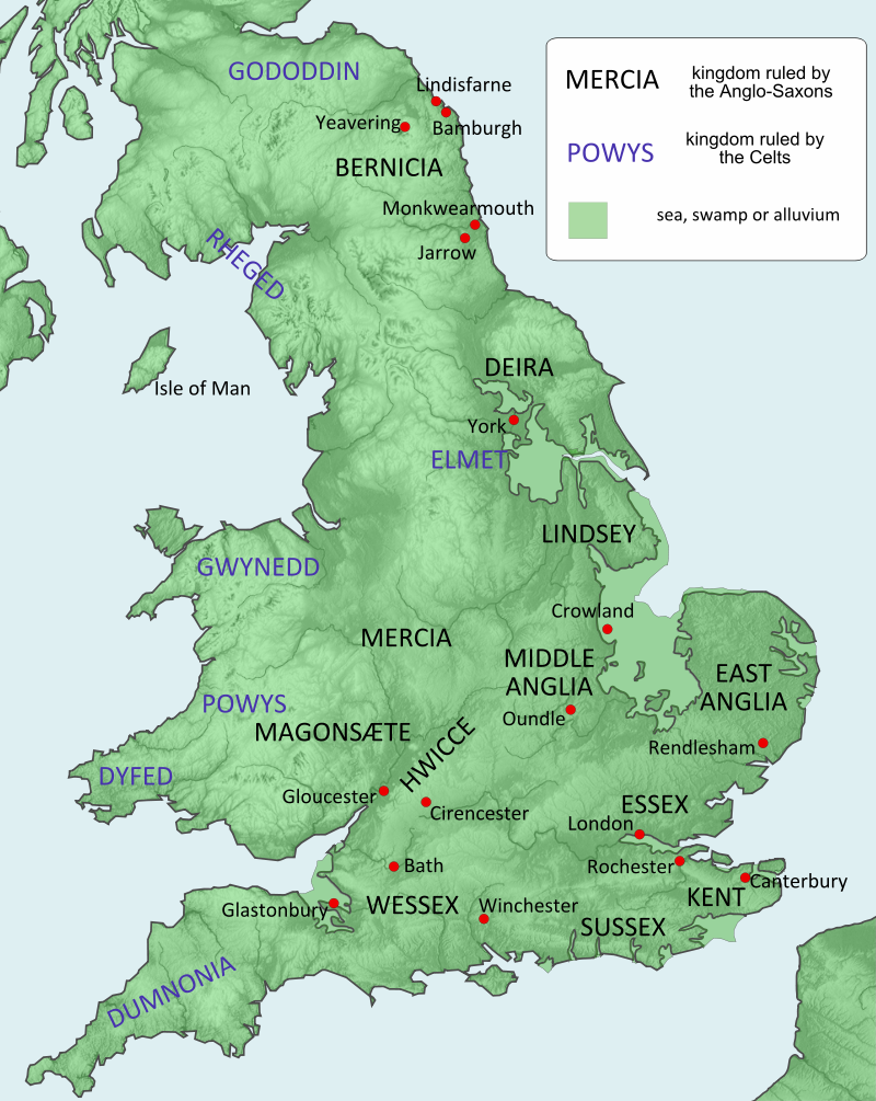 Map Of England 600 Ad.Celtic And Anglo Saxon Kingdoms Around 600 Ad British History