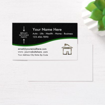 Insurance Agent Photo Template Business Card Zazzle Com With