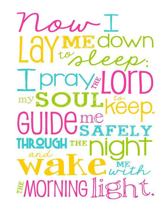 Now I Lay Me Down to Sleep Prayer – Girl – Bedroom – Newborn Girl – Magenta Pink, Yellow, Aqua and Lime Green - Christian Art - Baptism Gift -