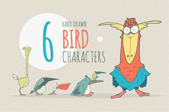 Vector Hand Drawn Funny Birds