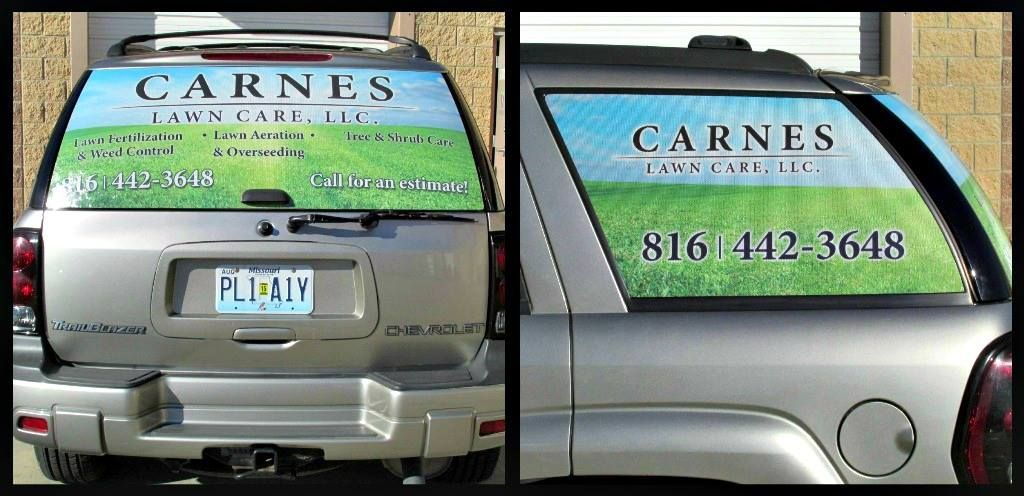 Carnes Lawn Care using #WindowPerf to advertise. www.victorysignco.com