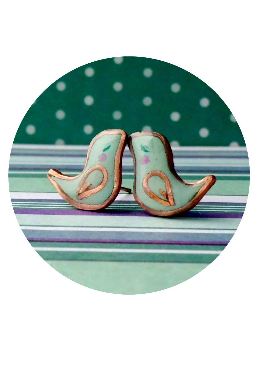 Stud earrings - Small green mint birds of polymer clay and copper ...
