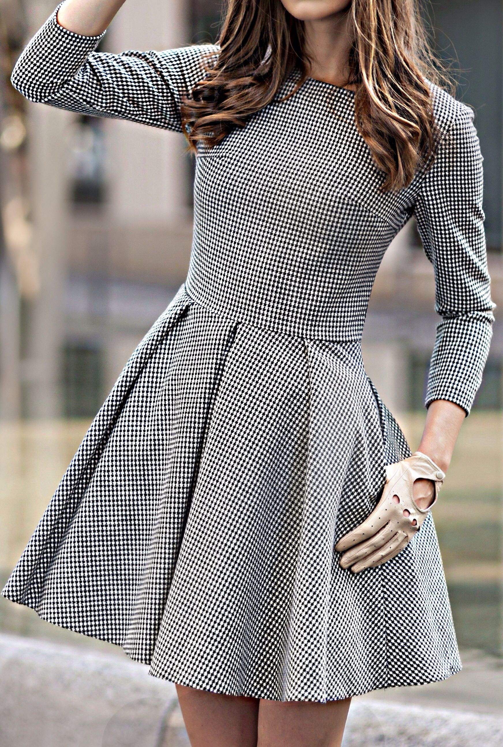 Gingham Flare Dress Riding Gloves In 2019 Fashion