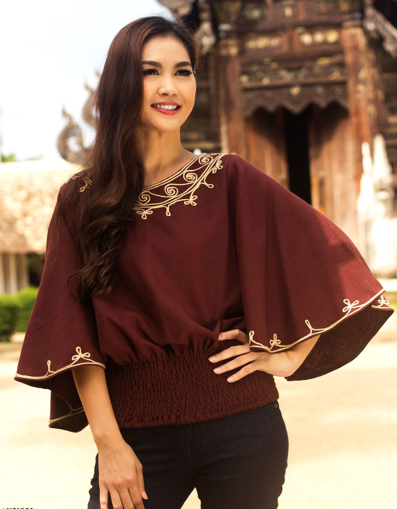 edbd917b6e14ac Cool Dusk,' Artisan Crafted Cotton Embroidered Brown #Blouse   Thai ...
